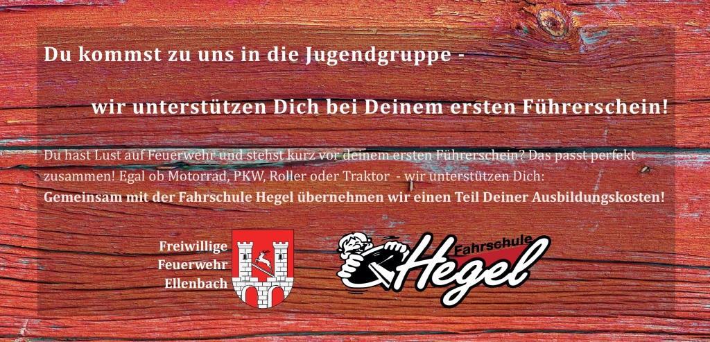 Kooperation der Feuerwehr Ellenbach und der Fahrschule Hegel für die Jugendgruppe